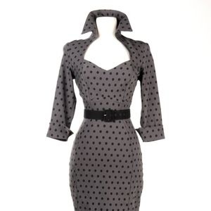 Pinup Girl Clothing Lorelei Dress Gray Polka Dots